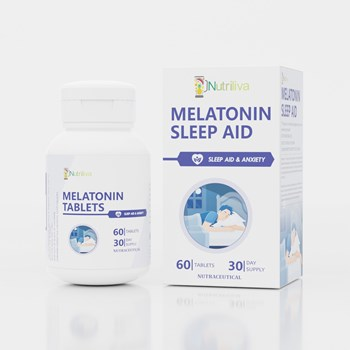 Nutriliva Sleep Aid – Melatonin – Provides Sleep Support m10g Improves Sleep Cycle – Tablets – 30 Day Supply m4gPack of 60m5g